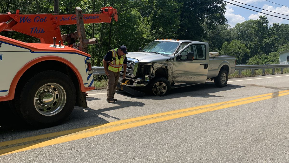 One person was taken to UHC following a three vehicle crash on route 20 Friday.