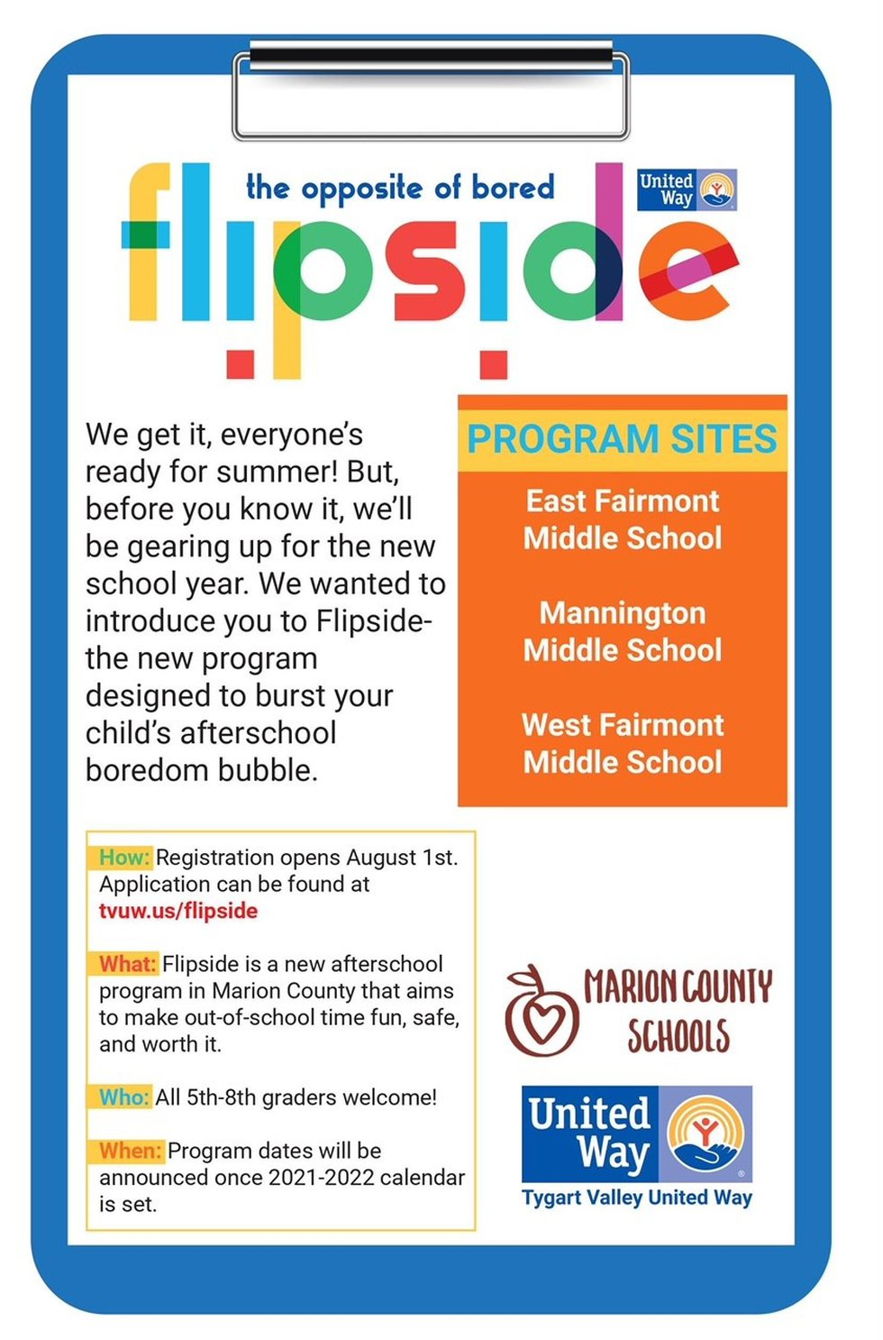 The Tygart Valley United Way is creating an afterschool program for middle school students...