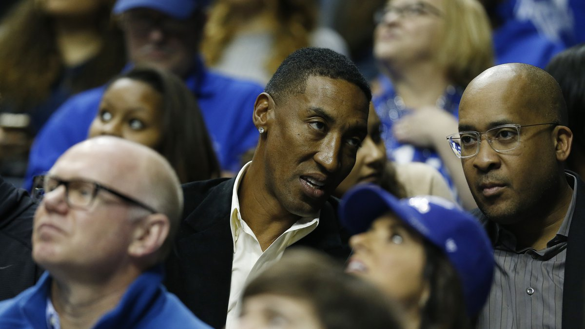 Former NBA player Scottie Pippen watches the first half of an NCAA college basketball game in...