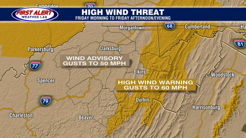 Watches and Warnings for High Wind Threat, March 26, 2021.