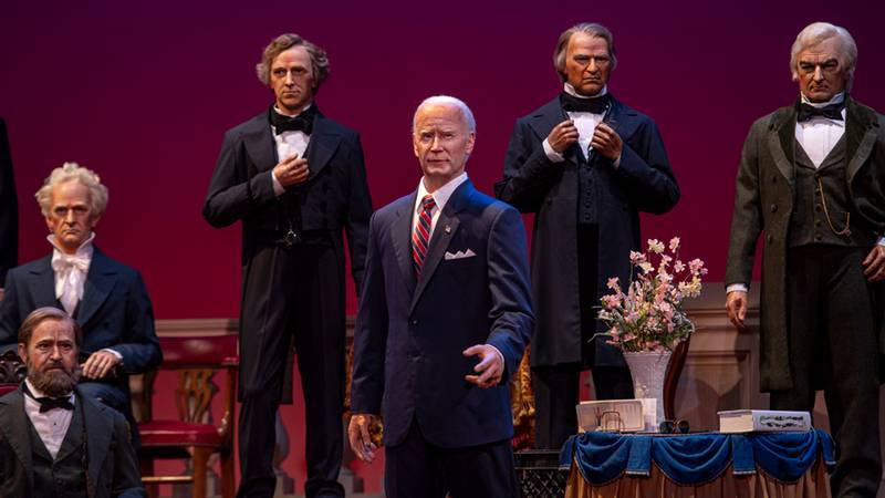 Crews are getting the final touches ready, and President Joe Biden's animatronic will be ready...