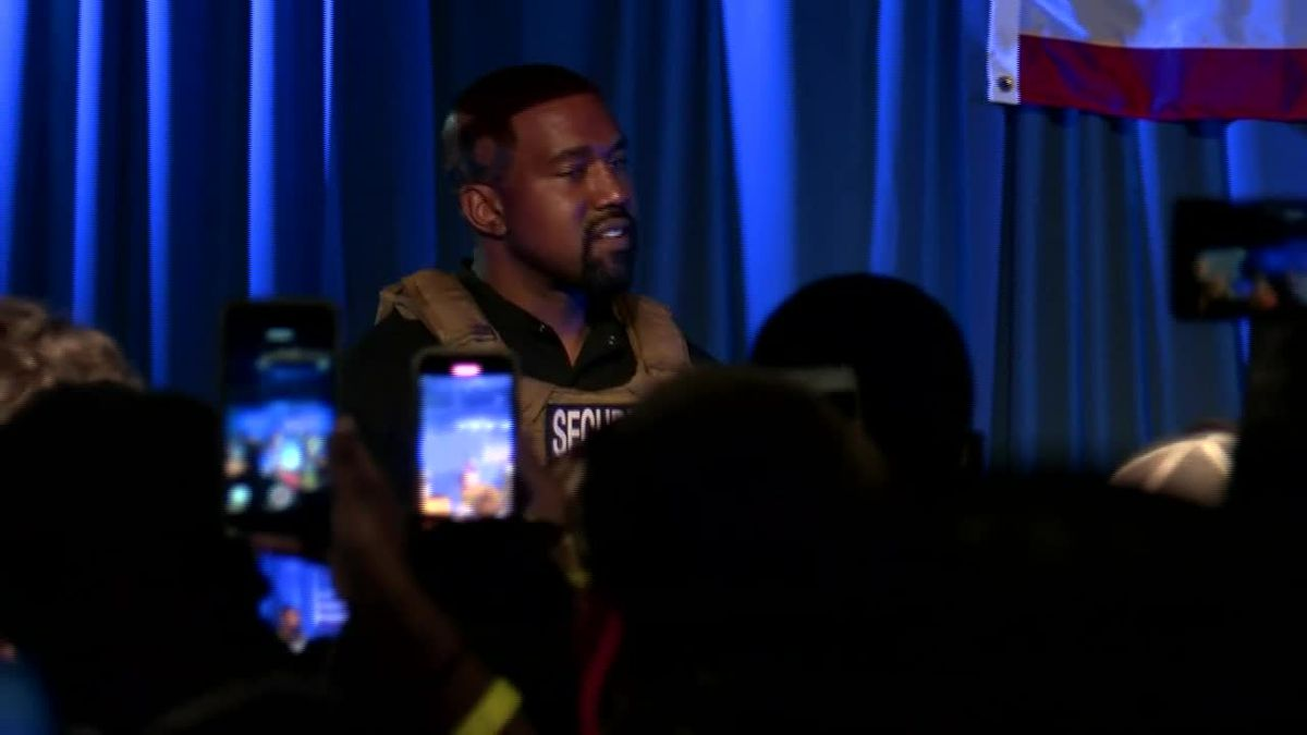Kanye West appears in his first presidential campaign rally last month in South Carolina.