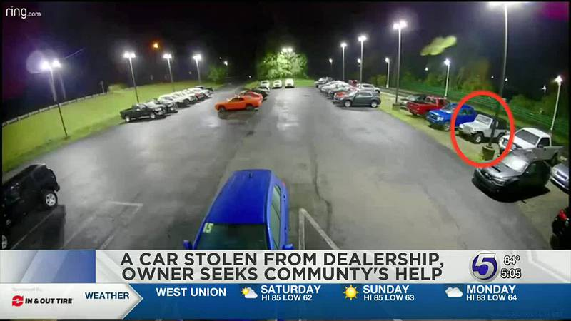 Morgantown car dealership is asking for the community's help after car stolen.